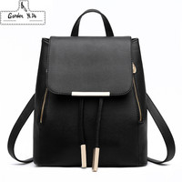 Hot College Style Drawstring Cute Women Backpack Leather School Bag Knapsack Winter Classical Candy Color Black Satchel For Girl