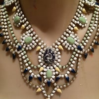 BOLDLY GO white, pearl, pastel green, pastel yellow and navy blue hand painted rhinestone statement bib necklace