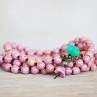 Beaded 5x wrap bracelet / Necklace -  artisan boho - pink