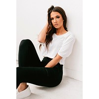 Never Late High-Low Crop Top (White)
