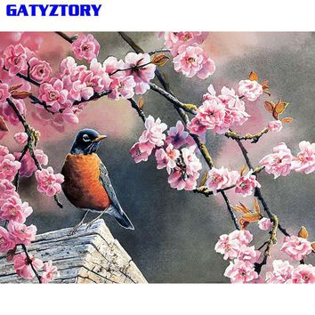 GATYZTORY Unframed Lucky Birds DIY Painting By Numbers Modern Wall Art Picture Acrylic Paint Unique Gift For Home Decor 40x50cm