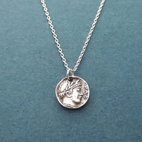 Vintage, Coin, Silver, Necklace, Birthday, Best friends, Sister, Gift, Jewelry