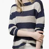 Navy Stripe Long Sleeve Knitted Sweater