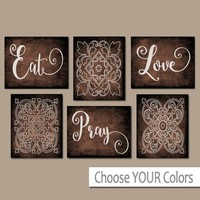EAT PRAY LOVE Kitchen Wall Art, Kitchen Canvas or Prints Dining Room Decor, Housewarming Gift, Kitchen Wall Decor, Set of 6 Home Decor