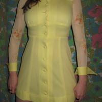 Vintage mini dress Aline Sunny yellow 1970s Sz by JunkStoreAddict