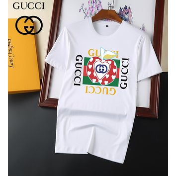 GUCCI GG red and green stripes double G letter round neck short-sleeved T-shirt