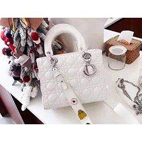 DIOR selling casual ladies' monochromatic moire single-shoulder bag shopping bag White