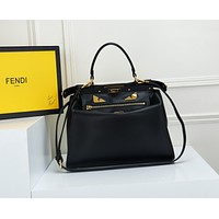 FENDI WOMEN'S LEATHER PEEKABOO HANDBAG INCLINED CHAIN SHOULDER BAG