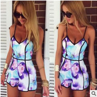 Hot Sale Spaghetti Strap Strapless Print Jumpsuit [6048619841]