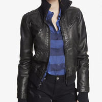 (MINUS THE) LEATHER KNIT TRIM BOMBER JACKET from EXPRESS
