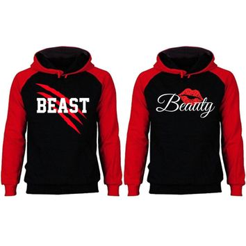 New Beast and Beauty Two-tone Black / Red Raglan Hoodie