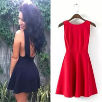 Solid Sleeveless Backless Mini Pleated Dress