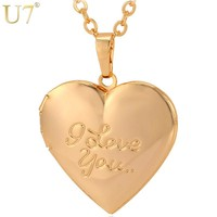"U7 Fashion Jewelry Women Gift Silver/Gold Color Choker Chain Locket ""I Love You"" Romantic Heart Necklaces Pendants P388"