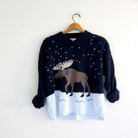 vintage ugly Christmas sweater / tacky christmas sweater / holiday party sweater / Moose Sweater