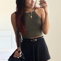 Ribbed Knit Crop Top - Olive