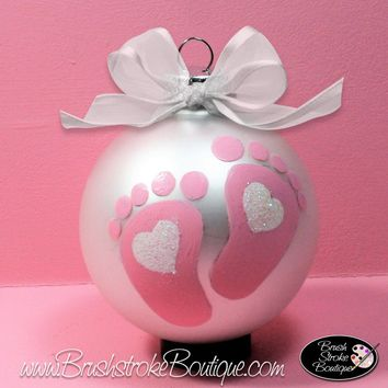 Baby Girl Footprints Ornament - Hand Painted Glass Ball Ornament - Original Designs by Cathy Kraemer