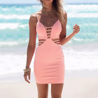 Sexy Women Halter Style Sleeveless Bandage Patchwork Bodycon Dresses Beach Party Cocktail Club Hollow out Mini Zipper Dress Y3