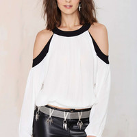 White Cutout Shoulder Long-Sleeve Chiffon Shirt