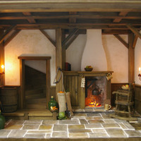 SOLD * Miniature Dollhouse Roombox - Stunning Handmade 12th Scale - Cottage / Tudor / Medieval