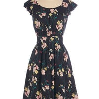 Emily and Fin Long Cap Sleeves A-line Get What You Dessert Dress in Midnight Blossoms