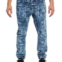 Men's Money Print Denim Jogger Pants