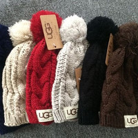 UGG Fashion Solid Color Winter Knit Wool Beanies Hat Cap