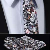 "TMF201A7 Gray Pink Orange Floral 2.75"" 100%Cotton Woven Slim Skinny Narrow Men Tie Necktie Handkerchief Pocket Square Suit Set"