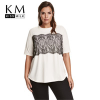 Kissmilk Plus Size Women Clothing Casual Solid Lace T-shirt Patchwork Short Sleeve Tops Tees O-Neck Loose Big Size T-shirt 6XL