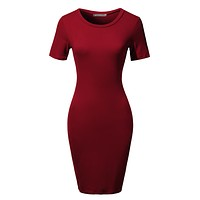 Stretchy Fitted Short Sleeve Basic Bodycon Midi Dress (CLEARANCE)