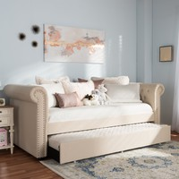 Baxton Studio Mabelle Modern and Contemporary Beige Fabric Trundle Daybed Set of 1