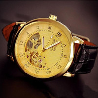 Mens Gift Black Leather Automatic Mechanical Watch