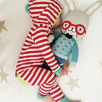 Toddler Newborn Kids Baby Boy Girl Clothes Warm Romper Red Strip Outfits Hat Jumpsuit Children Clothing
