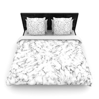 "Will Wild ""Marble"" White Gray Woven Duvet Cover"