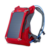 Red 7-Watt Solar Backpack Battery Charger With 1.8 Liter Hydration Pack
