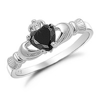 Kriskate & Co. Irish Claddagh Ring .925 Sterling Silver with Simulated Black Onyx Heart Promise Ring
