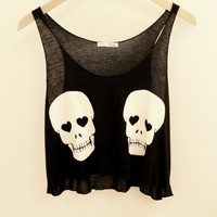 Black and White Skull Crop Tank Top