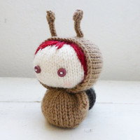 Amigurumi snail, knit snail, Amigurumi doll, knit amigurumi, amigurumi girl, escargo, ready to ship, hand knit, knit doll, small doll, snail