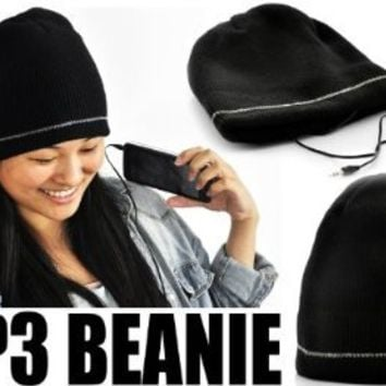 iHat - Solid Black MP3 Beanie Hat With Built In Headphones for iPhone, Android, MP3 Players, MP4, and More!
