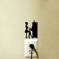 Piano Player Light Switch - Music Fabric Decal - Piano Wall Sticker - Classical Music Wall Art - Instrument Decor - Girl Decal - Piano Art