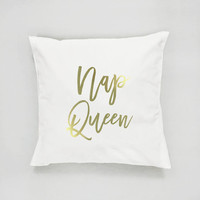 Nap Queen Pillow, Typography Pillow, Gold Pillow, Home Decor, Cushion Cover, Throw Pillow, Bedroom Decor, Bed Pillow, Decorative Pillow