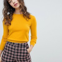 Pull&bear long sleeved crew neck sweater plain in mustard at asos.com