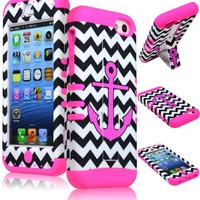 iPhone 5c Phone Case, Bastex Hybrid Soft Hot Pink Silicone Cover Hard Black & White Chevron Pink Anchor Design Kickstand Case for iPhone 5c