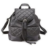 Black Quilted Faux Leather Backpack by Charlotte Russe
