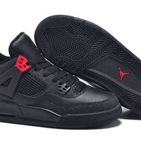 Cheap Nike Air Jordans 4 Retro Men All Black Shoes