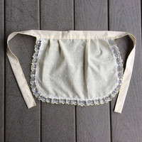 Cream Cotton Apron, Costume Aprons  Eyelet Fabric Aprons Wedding Catering Aprons French Maid Aprons in Bulk Cute Apron for little girls