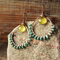Sunny. Hammered Artisan Copper Hoop Earrings with Wire Wrapped African Turquoise Rondelles and Bright Yellow Chalcedony Gemstones-Southwest
