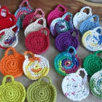 3 Cotton Face Scrubbies, round crochet, Hang to Dry loop (your choice of 3 colors)