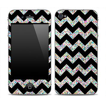 Black Chevron and Colorful Dotted Print Skin for the iPhone 3gs, 4/4s or 5