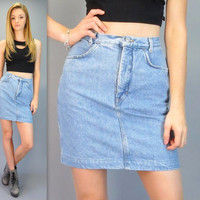 "Vintage 80s 90s GAP High Waisted Blue Jean Mini Skirt Rocker Punk Short Light Wash Denim Fitted Pencil Normcore Hipster 25"" Waist XS Small"