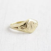 Vintage Art Deco Monogrammed B 10k Yellow Gold Ring - Size 2 1/3 Baby Midi 1930s Floral Initial Jewelry Hallmarked Allsopp Brothers